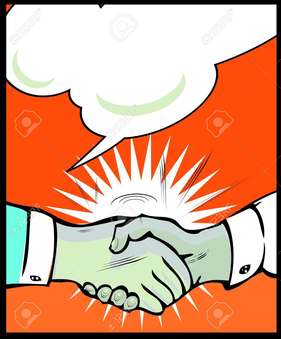 Vintage Pop art handshake background Stock Vector - 15770903