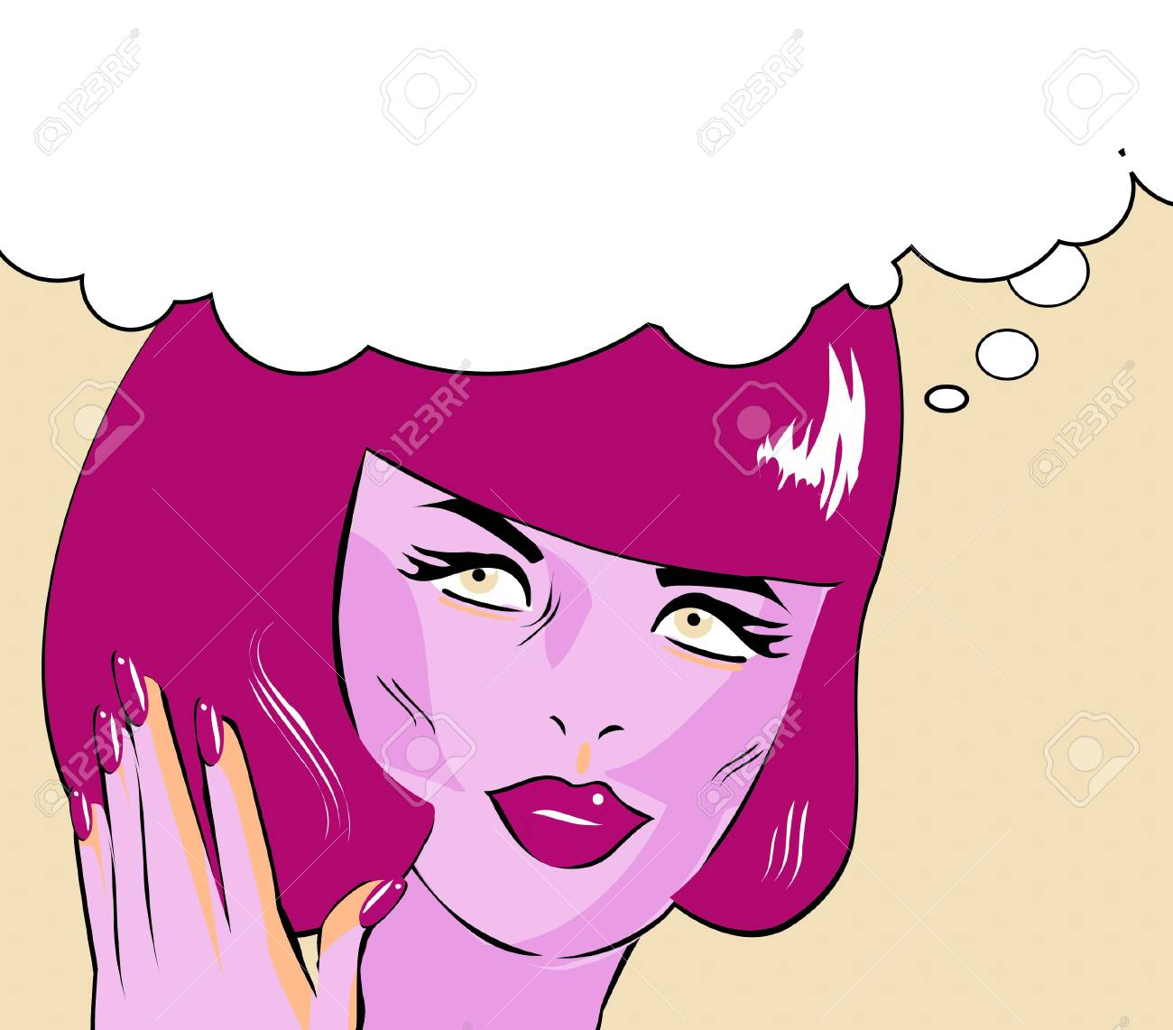 Pop Art Vector Illustration of a Woman Stock Vector - 15770915