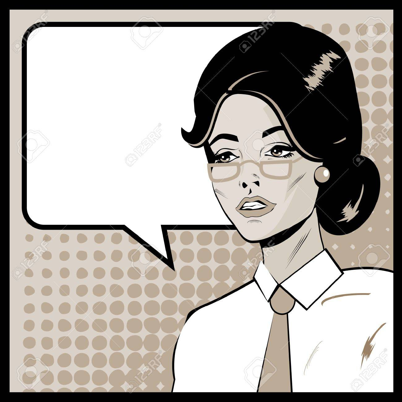 Pop Art Business Woman with Speech Bubble. Retro business smiley girl Stock Photo - 18452617