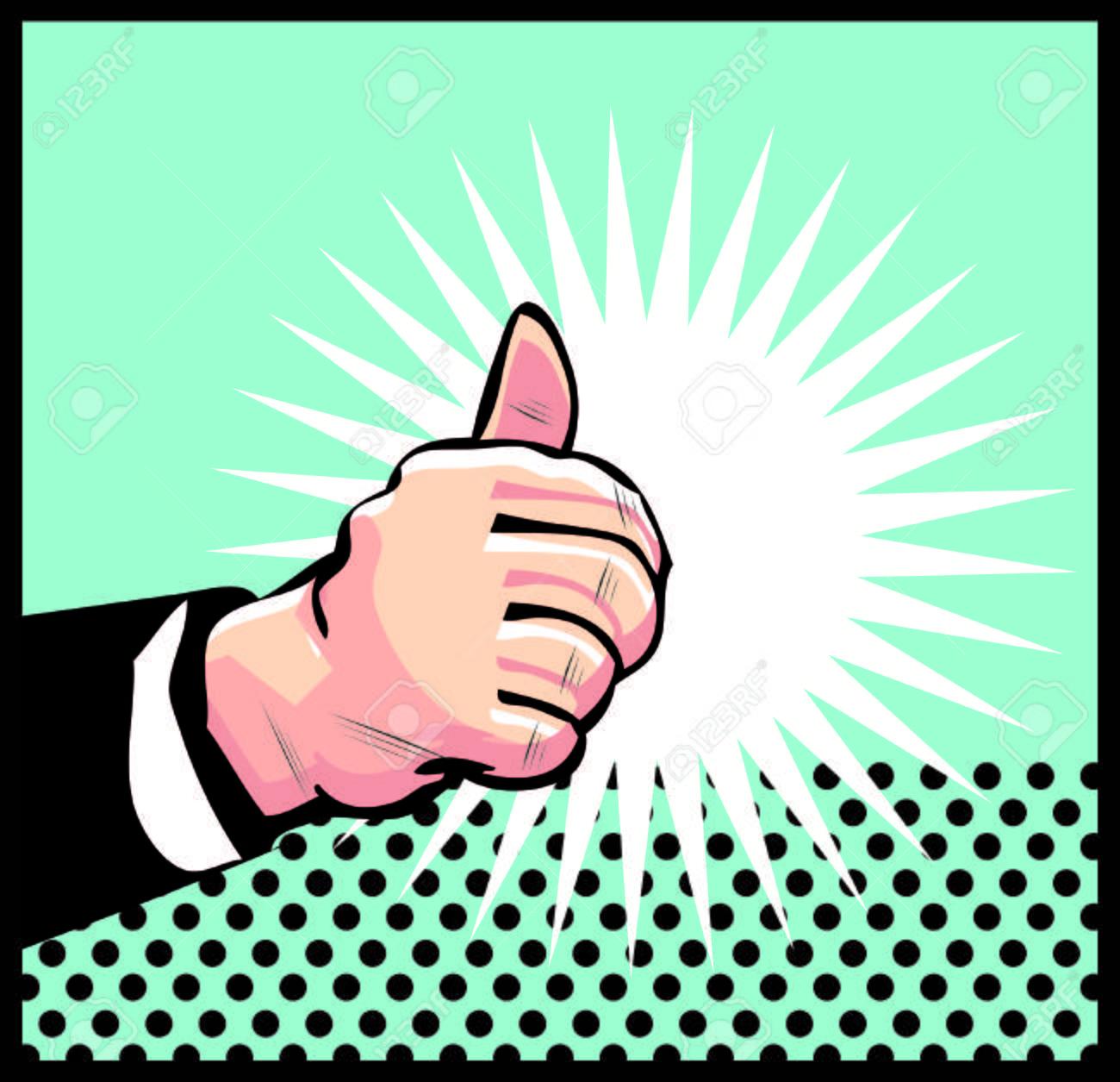 Thumb Up Retro business icon illustration pop art style Stock Photo - 26498315