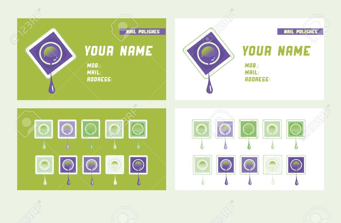 Vektor Visitenkarte Vorlage Gesetzt Maniküre Salon Frau Sauber Thema Visitenkarten Vorlage