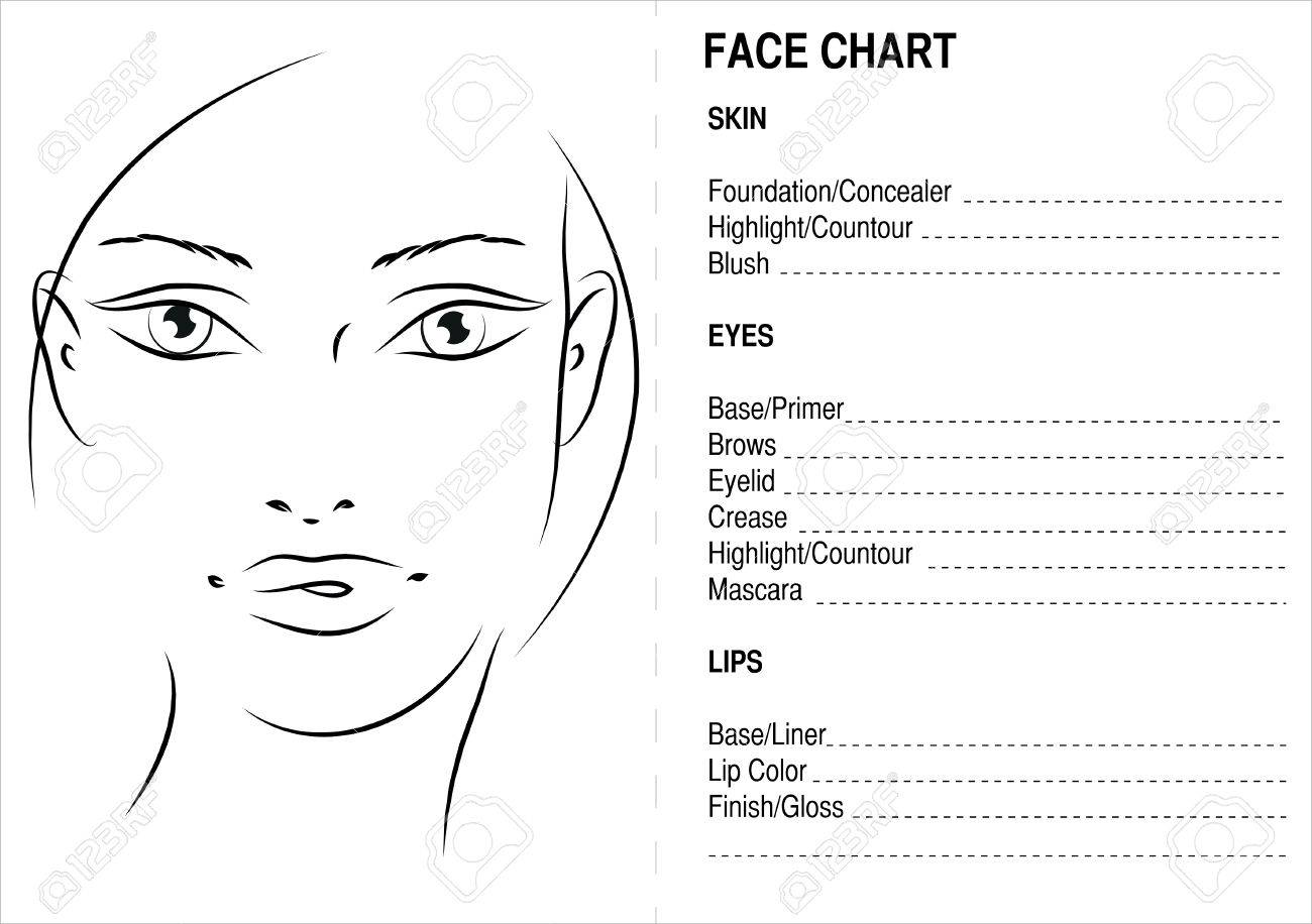 Face chart makeup artis blank face charts stock photo picture and