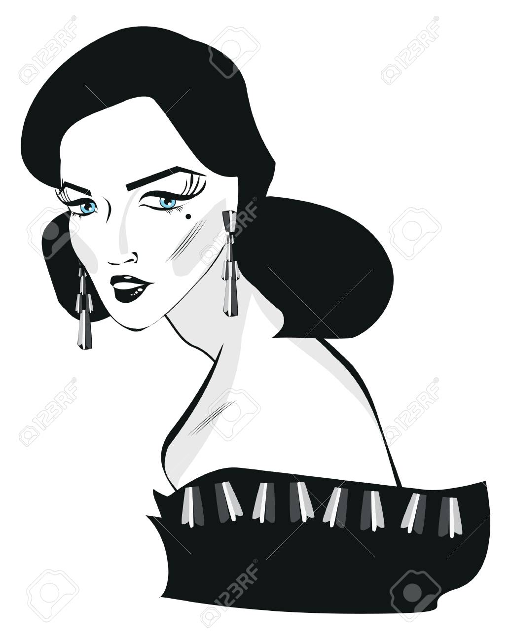 Retro woman pop art face portrait black and white stock photo 51444025