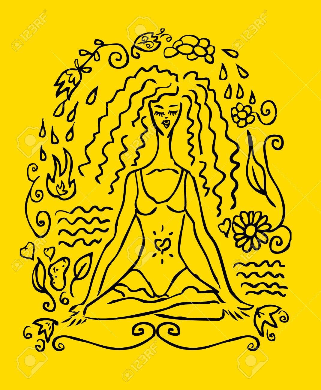 Yoga Femme Tatouage Fausse Carte Embleme Icone Fond Jaune Banque
