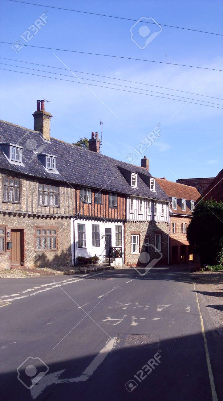 Old Buildings in Holt Road, Little Walsingham, Norfolk Stock Photo - 78247156