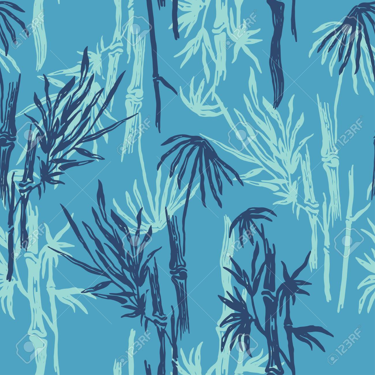 Bamboo Seamless Tropical Pattern On Exotic Blue Background Tropical Royalty Free Cliparts Vectors And Stock Illustration Image 86156983