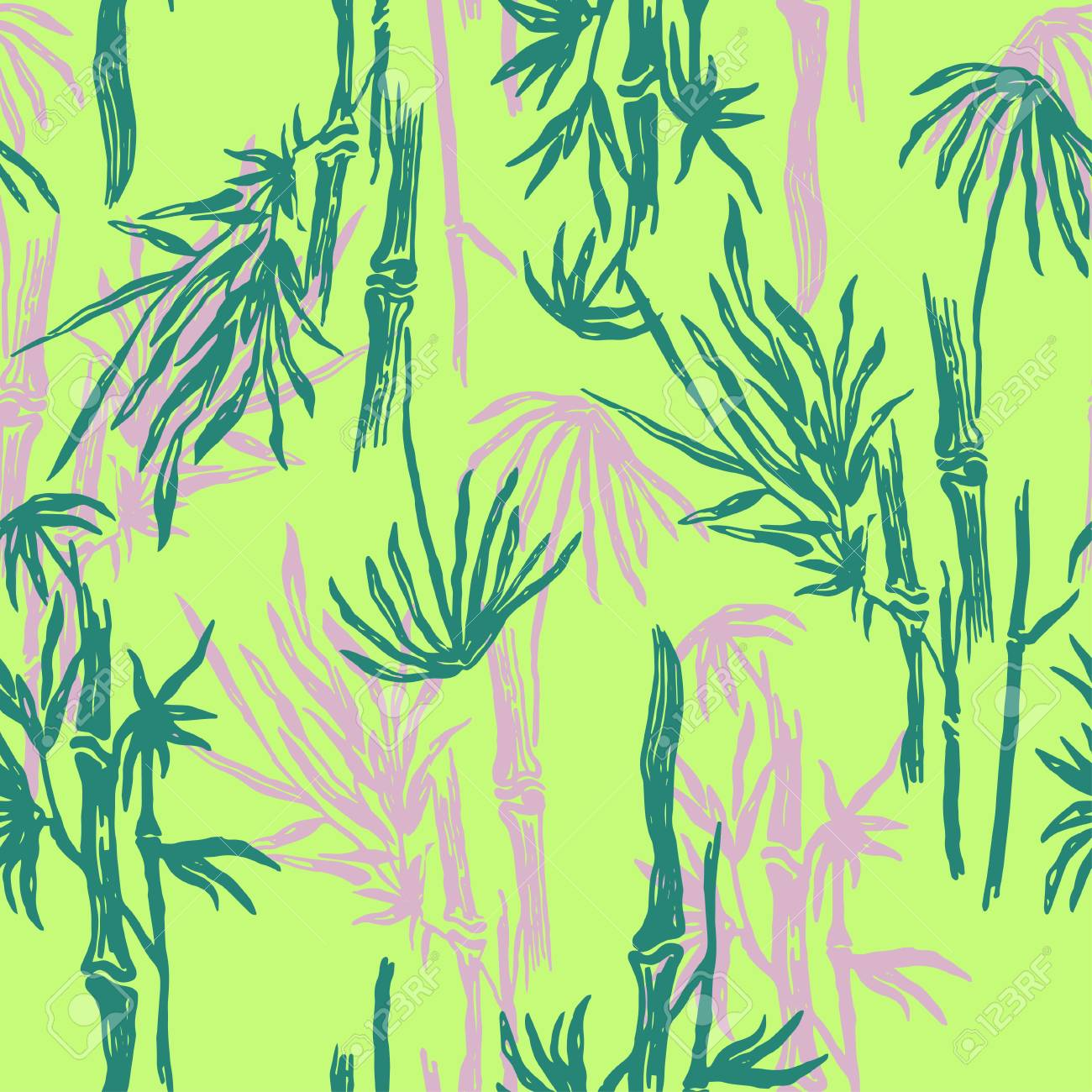 Bamboo Seamless Tropical Pattern On Exotic Lime Green Background Asian Plant Wallpaper Chinese