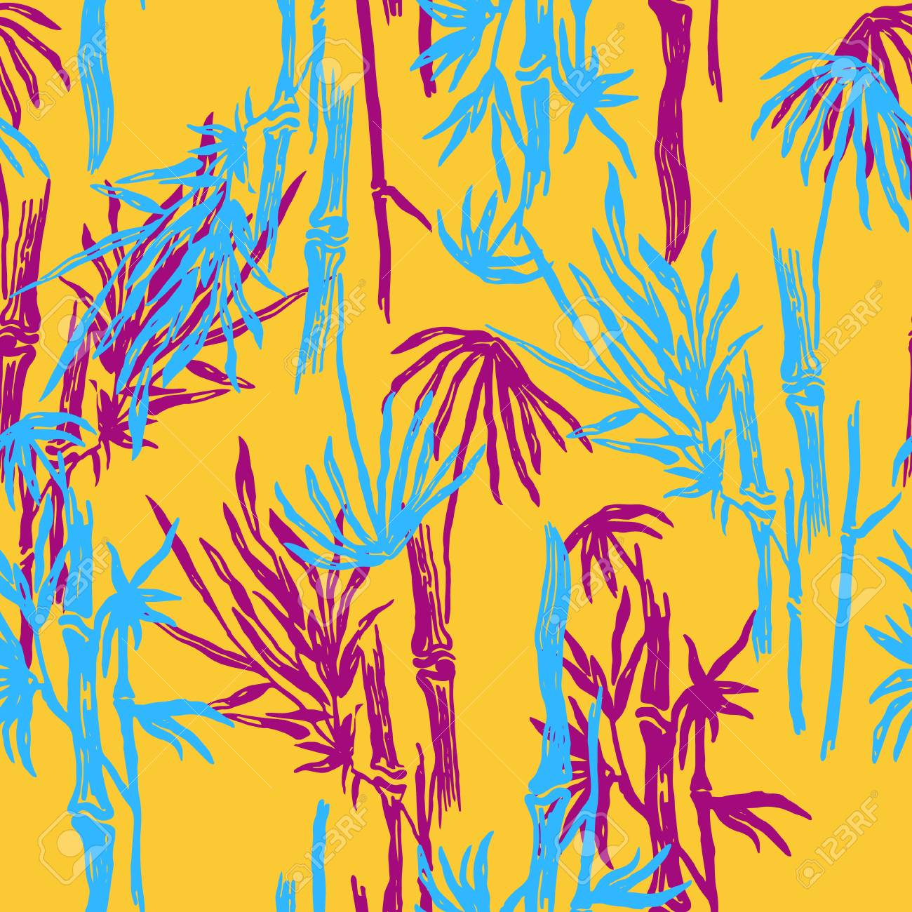 bamboo seamless tropical leaves pattern on exotic trendy background