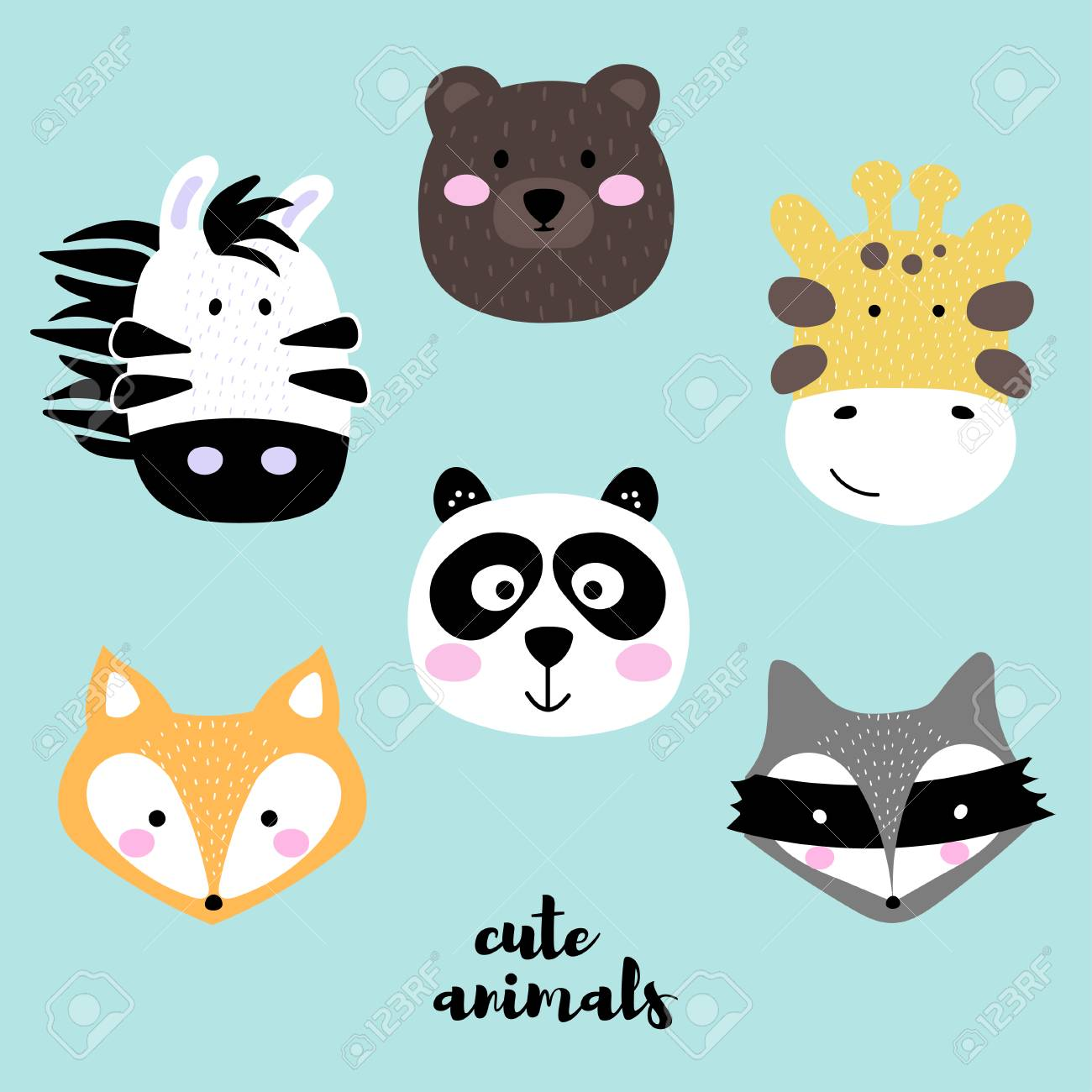 - Collection Of Cute Animal Faces. Set Of Creative Animal Print