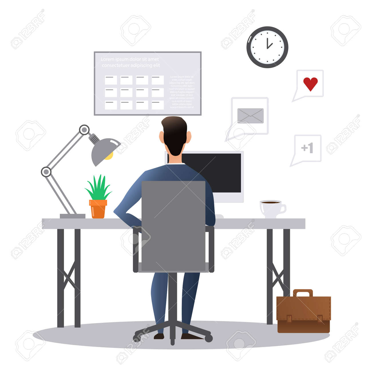 Vector cartoon style drawn illustration of man at the desk working in the office. - 169439880