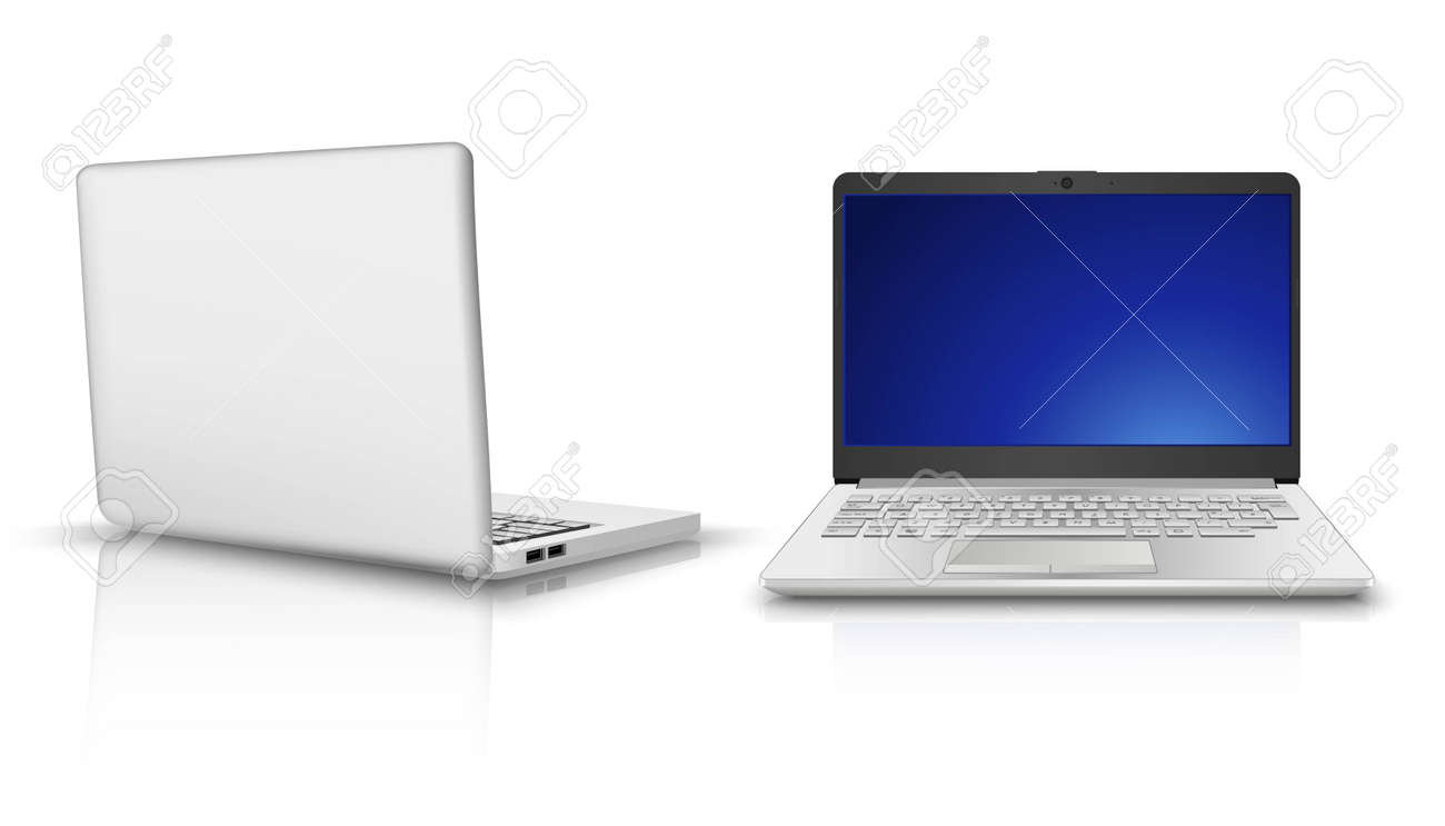 3d realistic vector laptop computer in side and front view. Isolated on white background. - 169469369