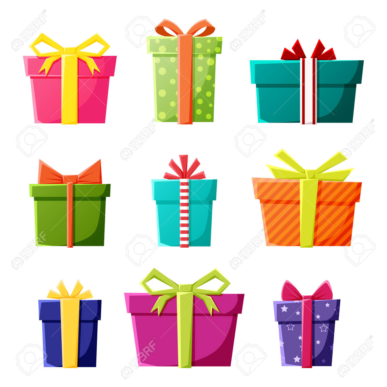 Vector set of gift boxes icons in color for New Year, Christmas or celebration party events. - 169470597