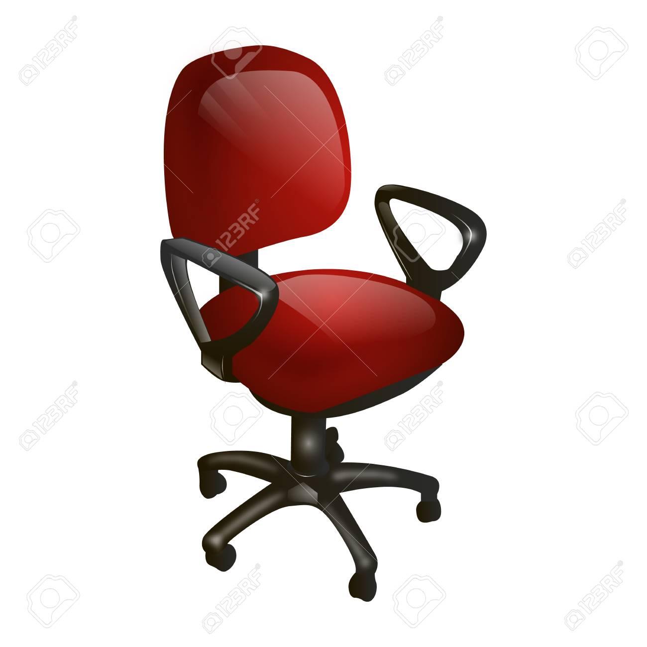 Rode Fauteuil Leer.Rode Computer Stoel Leer Op Een Witte Achtergrond Geisoleerde