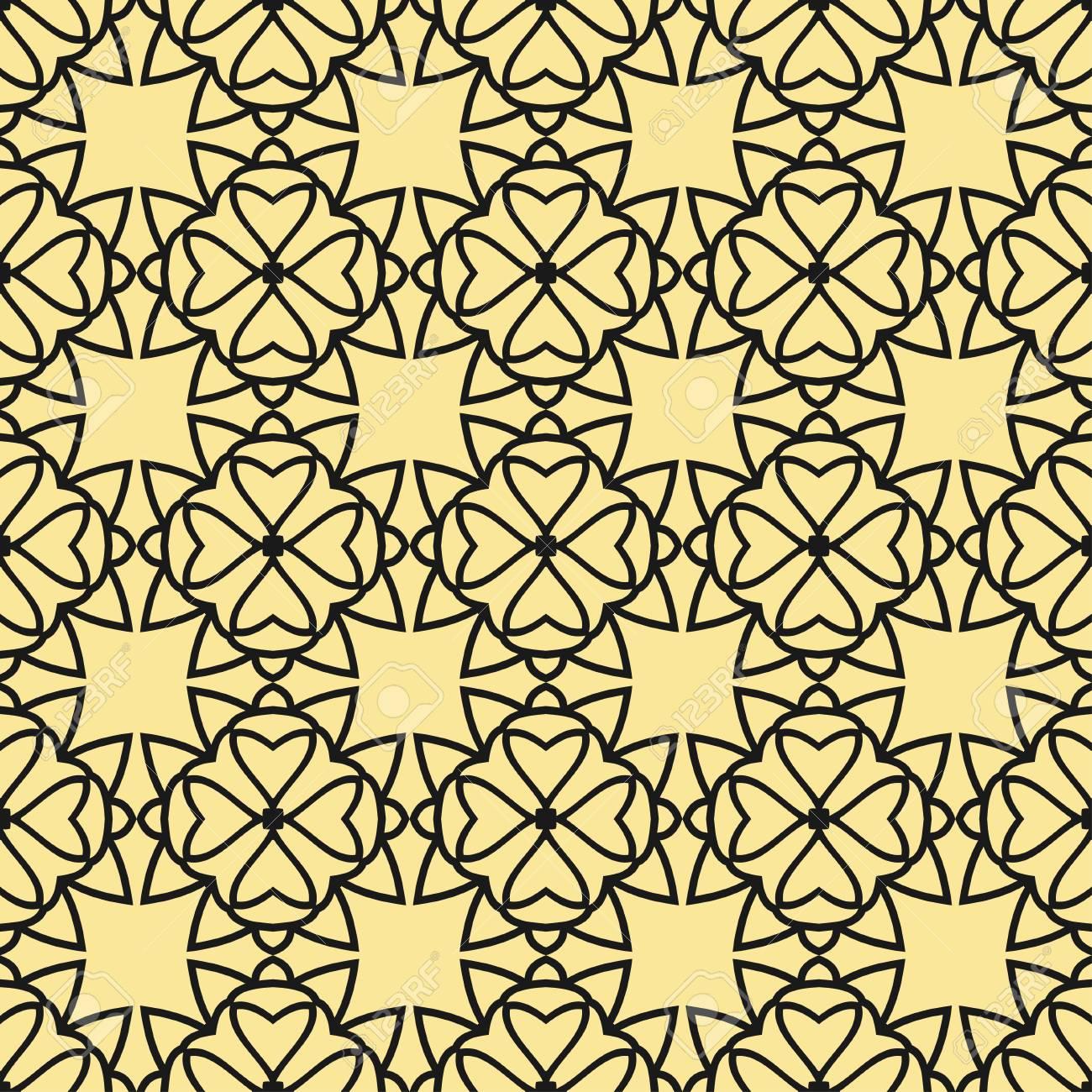Papier Peint Geometrique Floral Sans Soudure Motif Noir Et Or