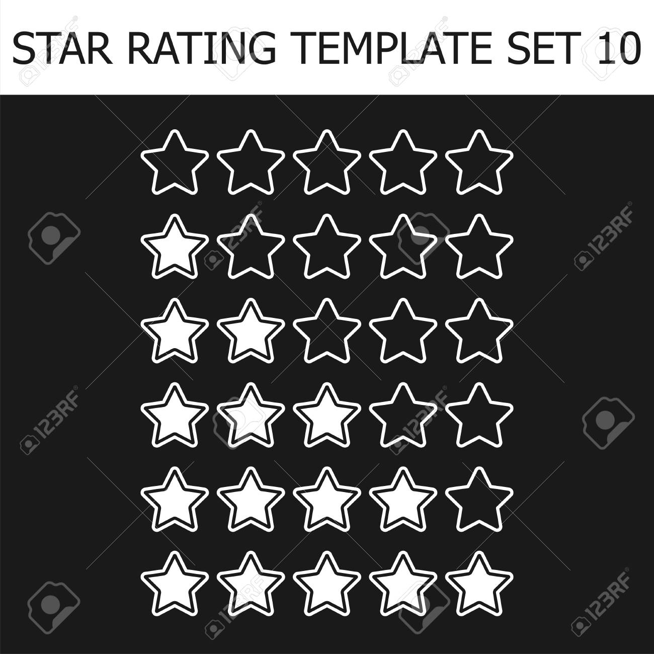 Vector Star Rating Assessment. Black And White Illustration. Template For  Web Design. Stock