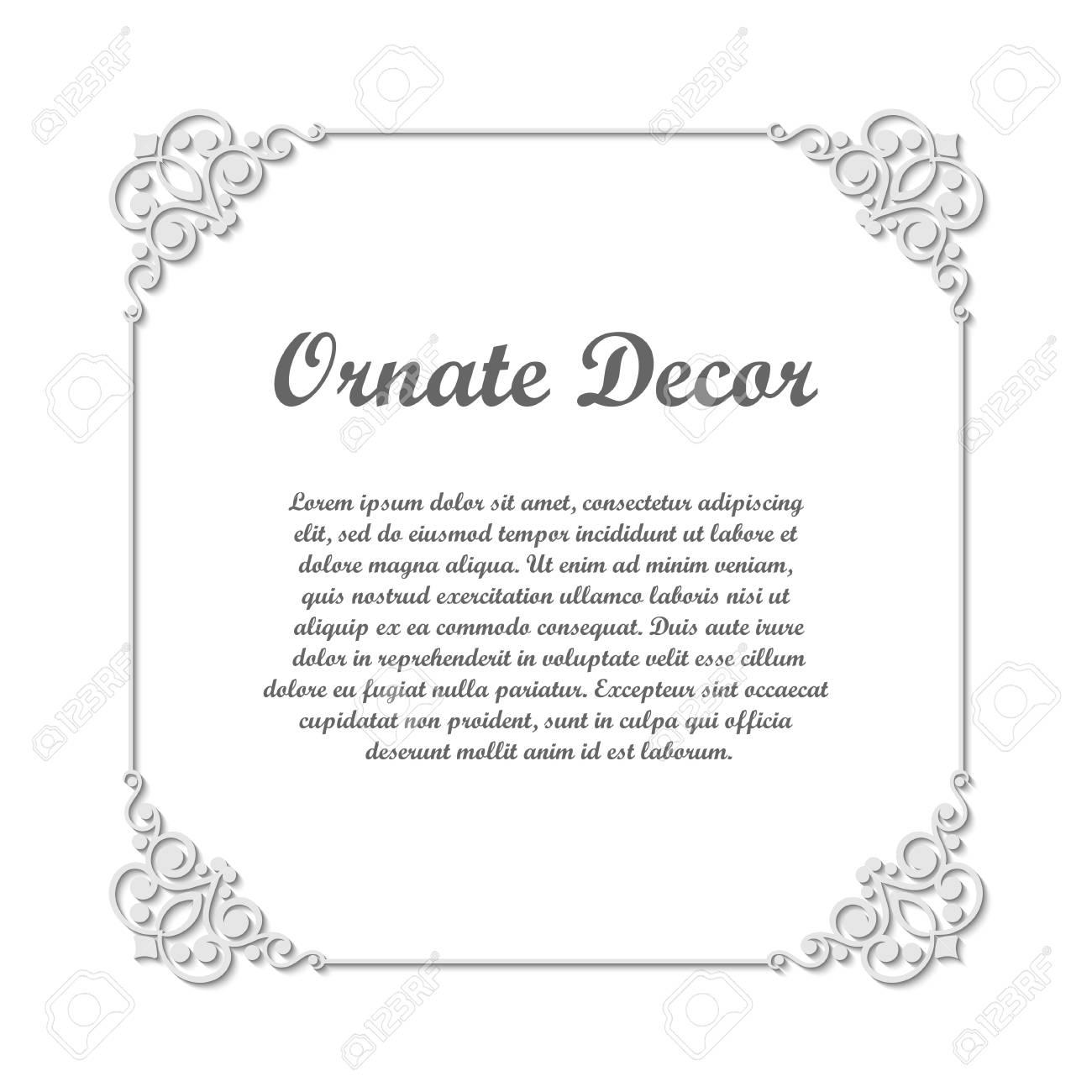 Vector decorative element for design frame template with place vector decorative element for design frame template with place for text fine floral ornamental junglespirit Image collections