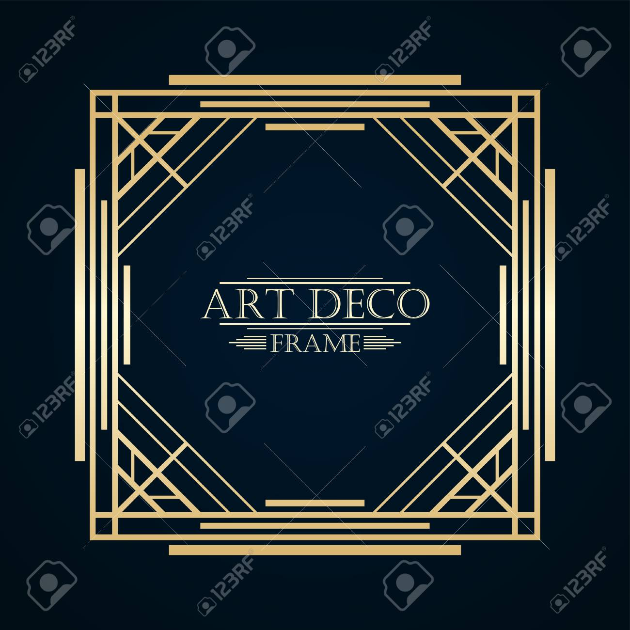 vintage retro art deco frame with text and golden gradient template
