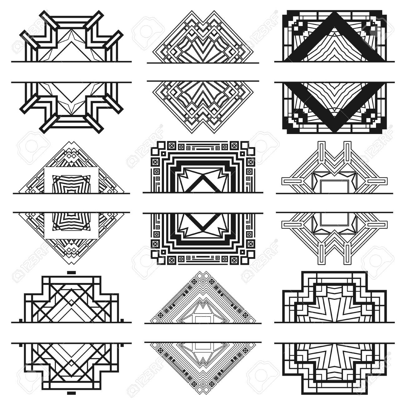 Set Of Nine Black Art Deco Frames On White Template For Design