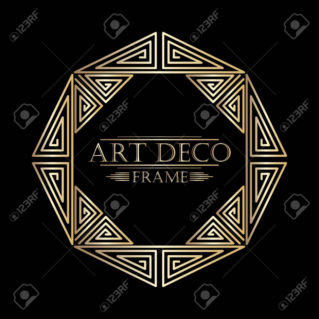 art deco ornamental vintage frame template for design vector