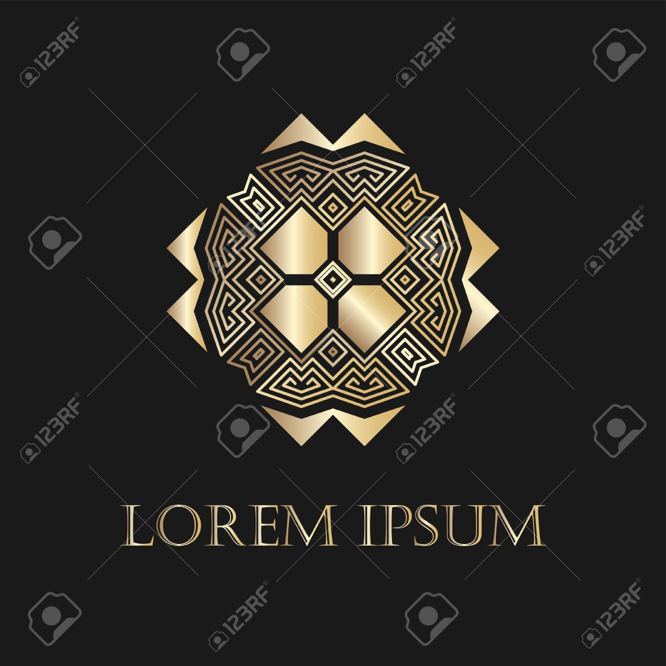 art deco golden ornamental logo template for design vector