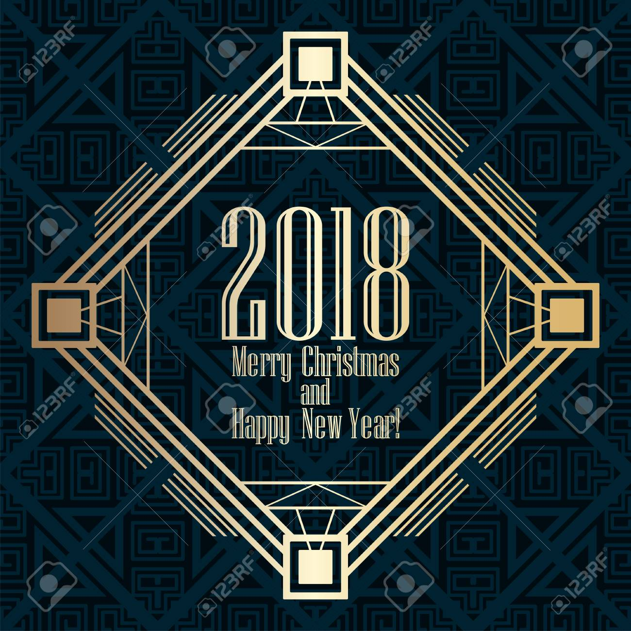 2018 new year greeting card in art deco golden style template for design vector