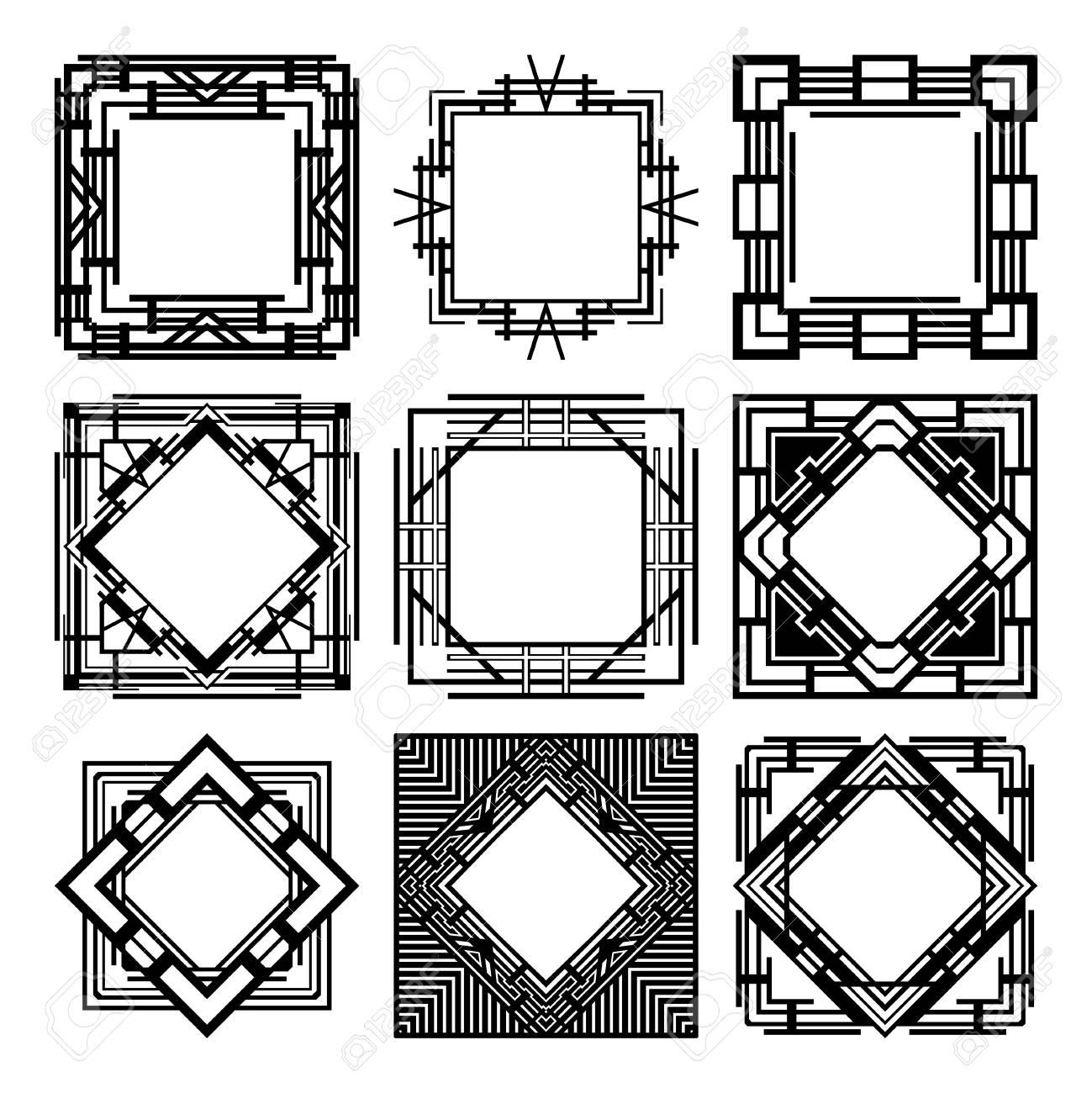 Vintage Retro Frames Set In Art Deco. Template For Design. Vector ...