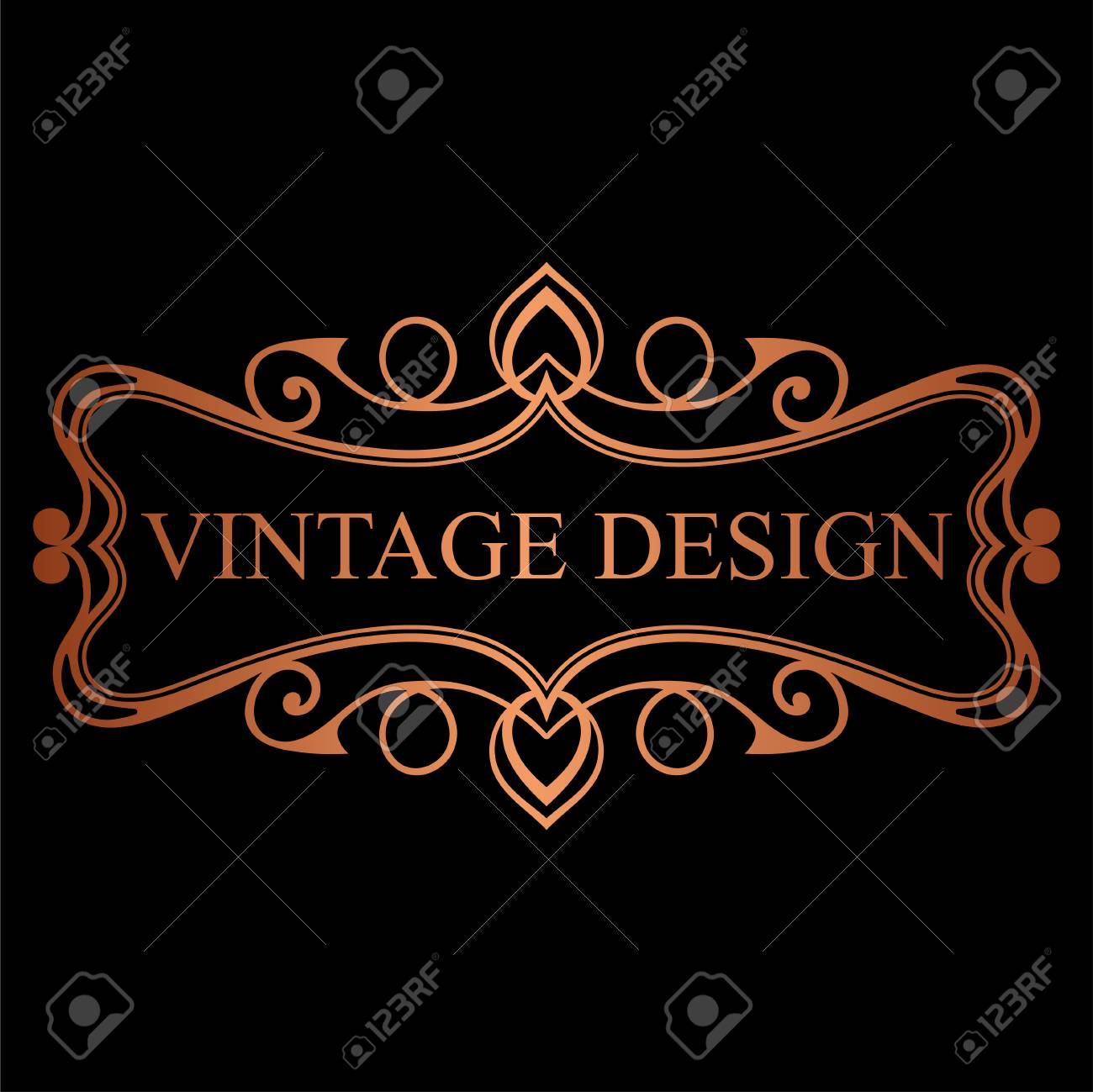 Golden Vintage Calligraphic Label Ornate Logo Template For Design