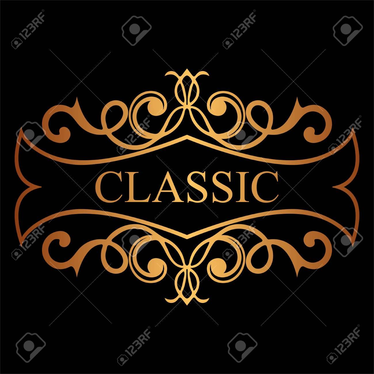 Golden Vintage Calligraphic Label Ornate Logo Template For Design