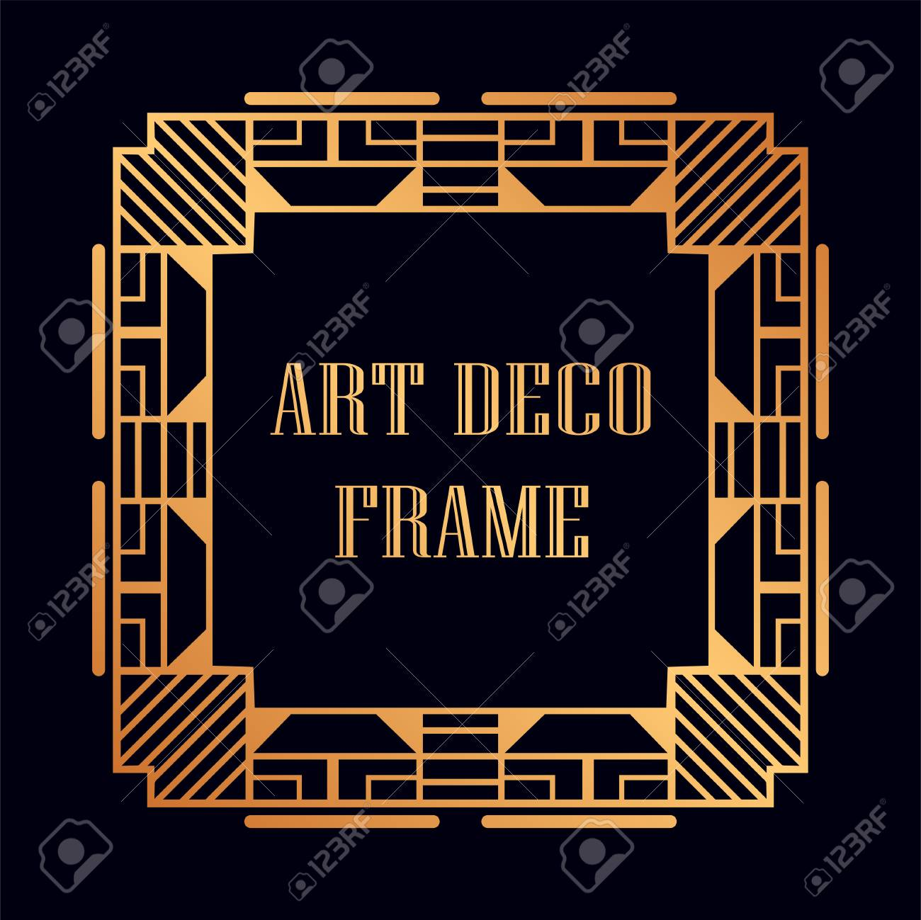 vintage retro golden frame in art deco style template for design