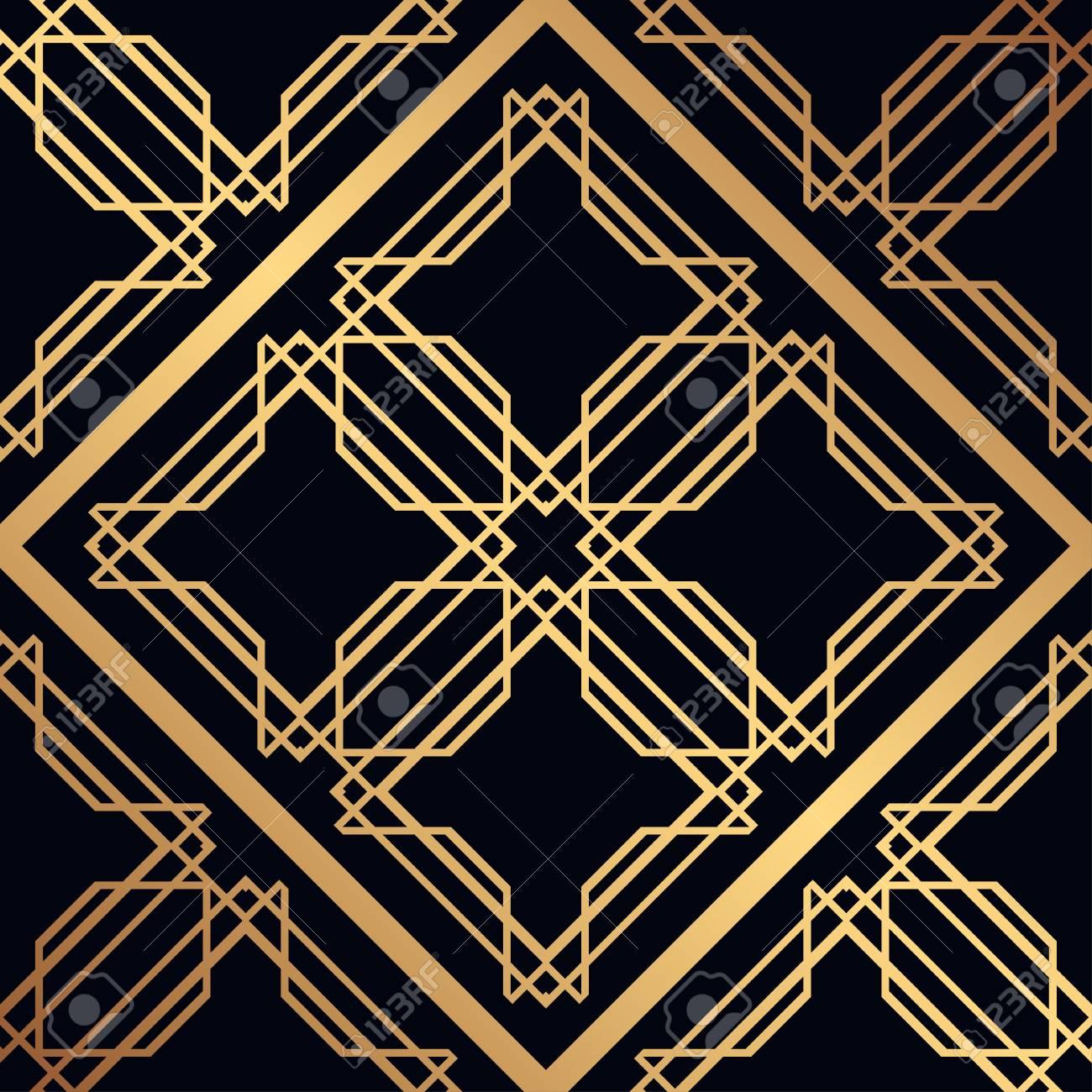 Deko Ornament.Vintage Ornamental Seamless Pattern Art Deco Ornament Template
