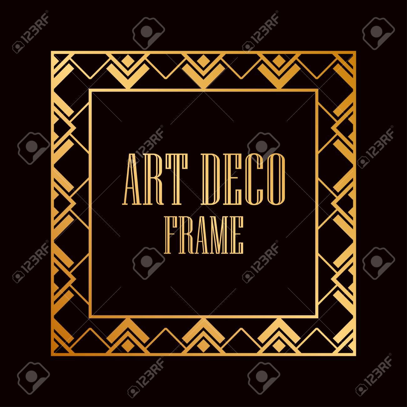 vintage retro style invitation in art deco art deco border and