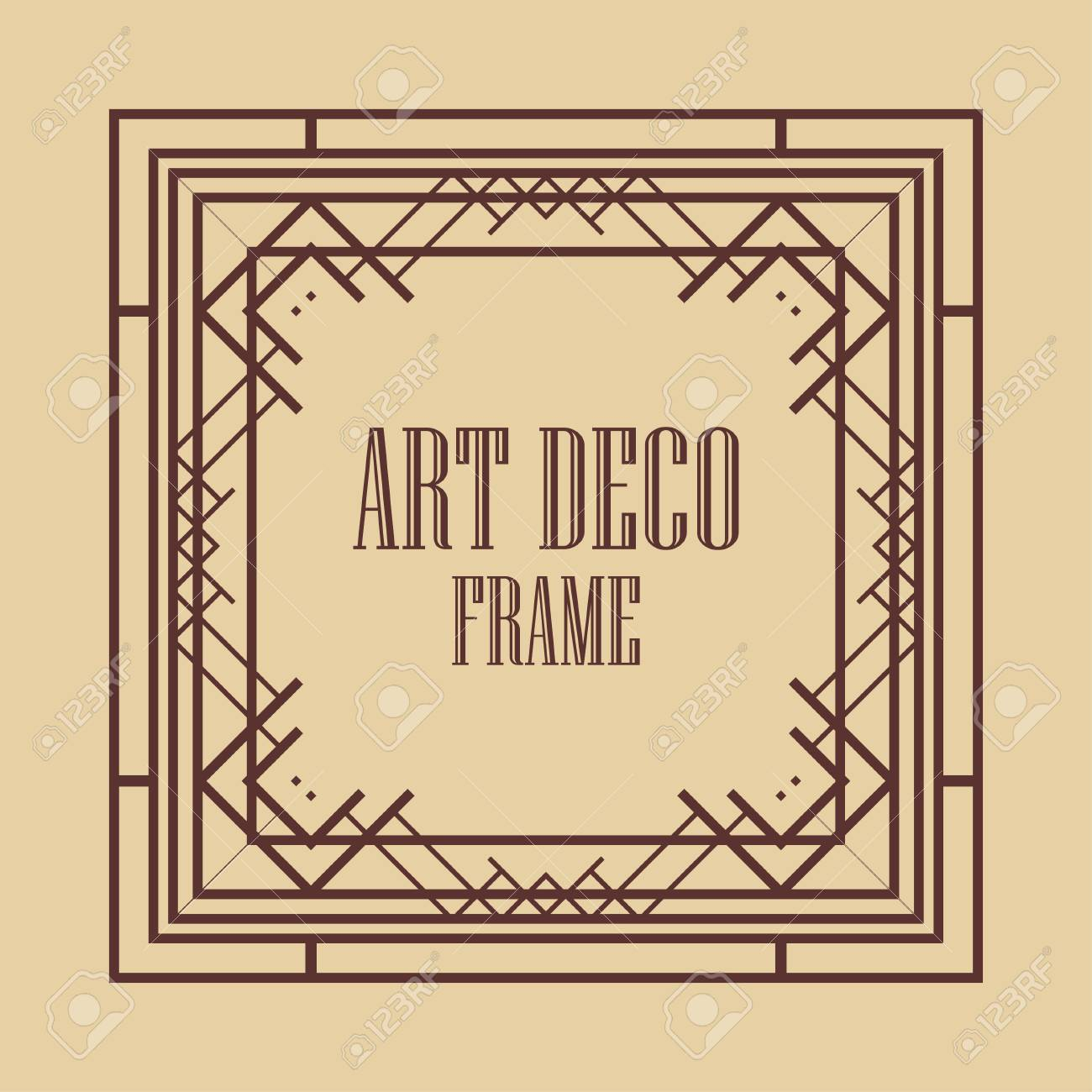 Vintage Art Deco Border Frame Template For Design Royalty Free
