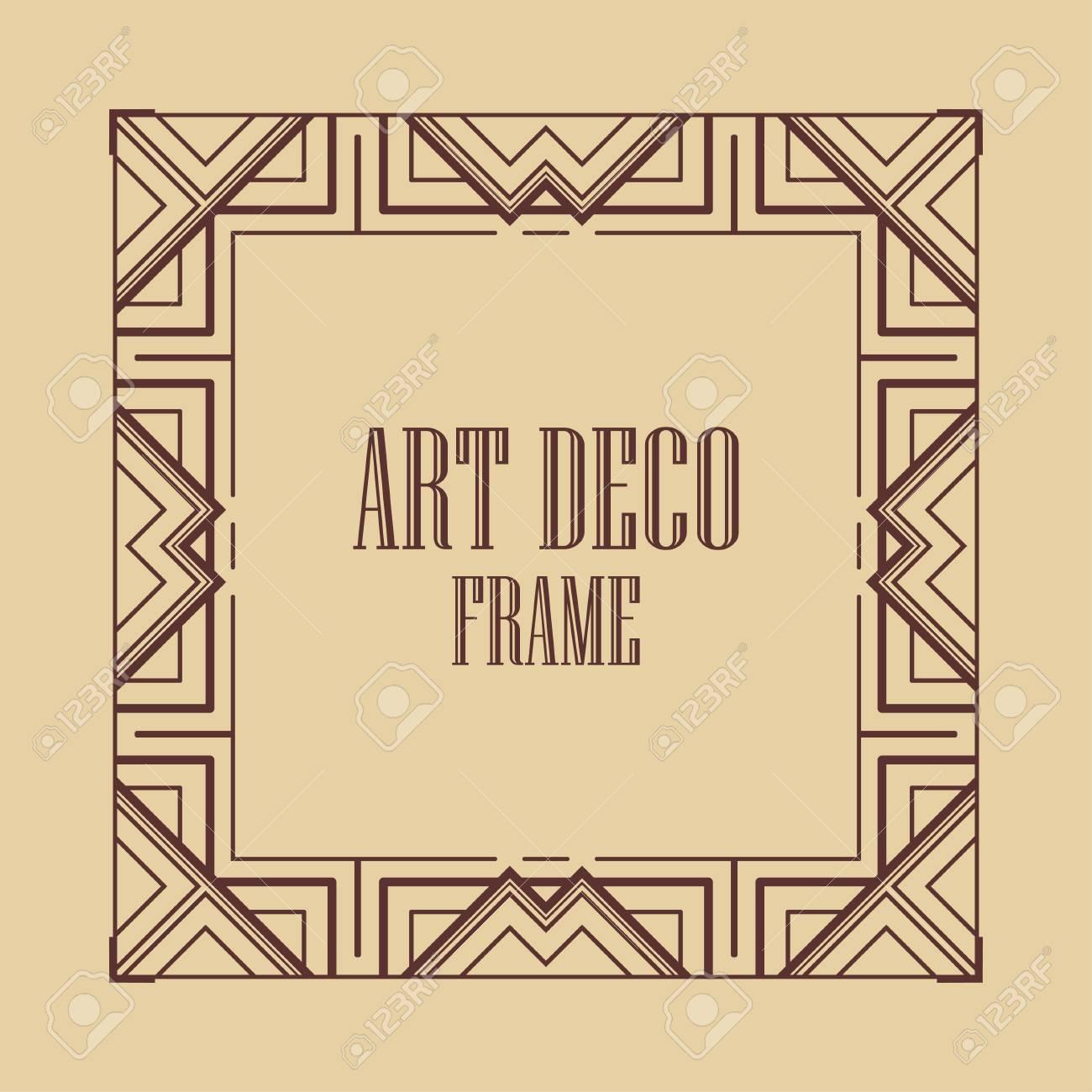 Vintage Art Deco Border Frame Template For Design Royalty Vrije