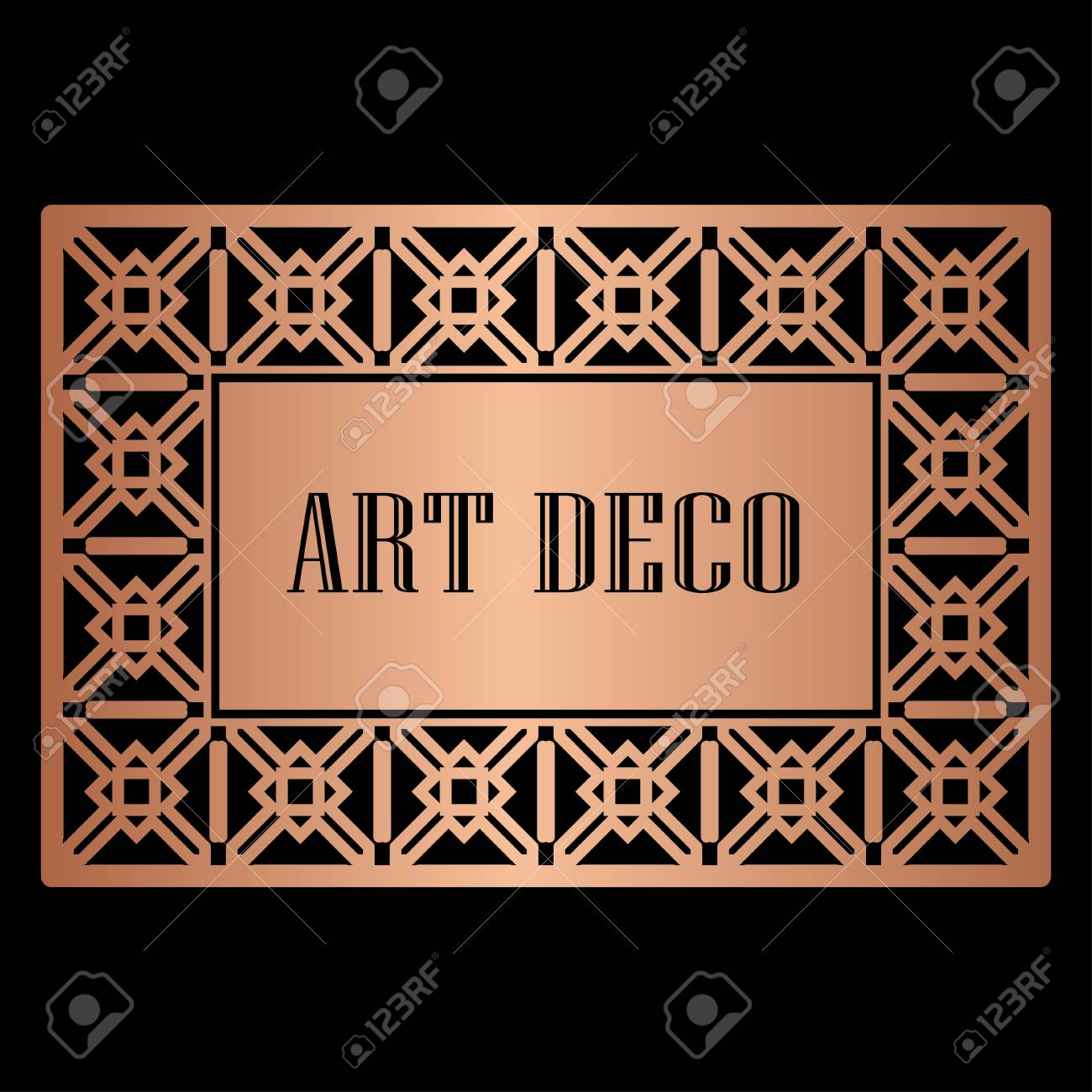 Art deco border frame template vector illustration