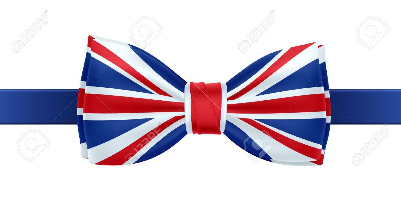 bow tie with uk flag vector illustration great britain symbol rh 123rf com Hair Bow Vector Cartoon Bow Ties