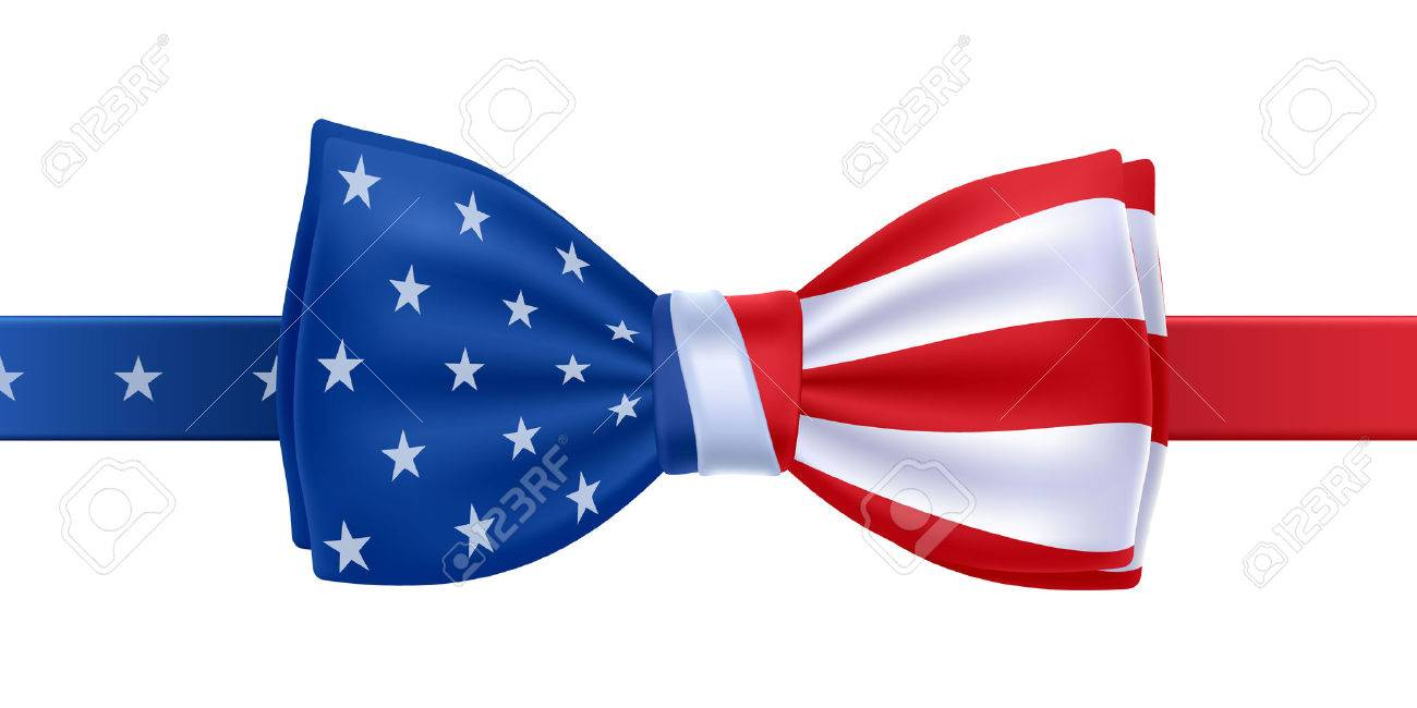 bow tie with usa flag vector illustration united states symbol rh 123rf com Transparent Bow Tie Vector Tuxedo Bow Tie Vector