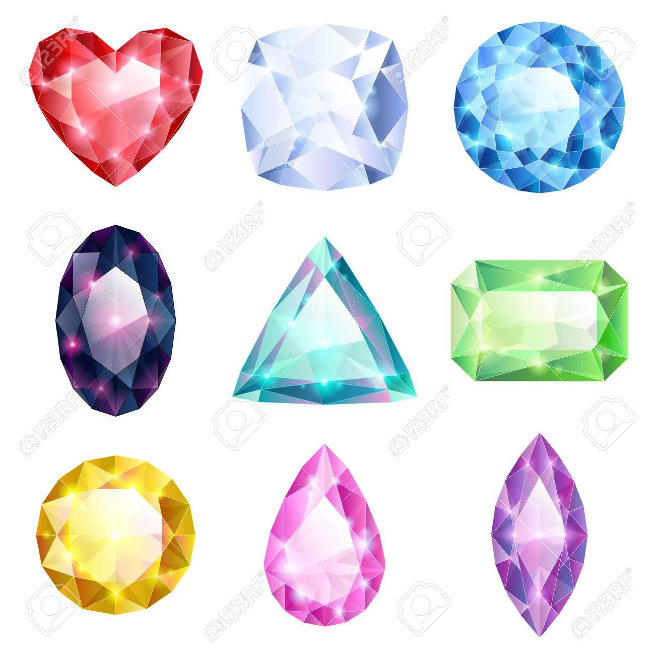 pas mal ed109 493ae Ensemble de brillants réalistes bijoux colorés. Différentes pierres isolées  sur fond blanc.