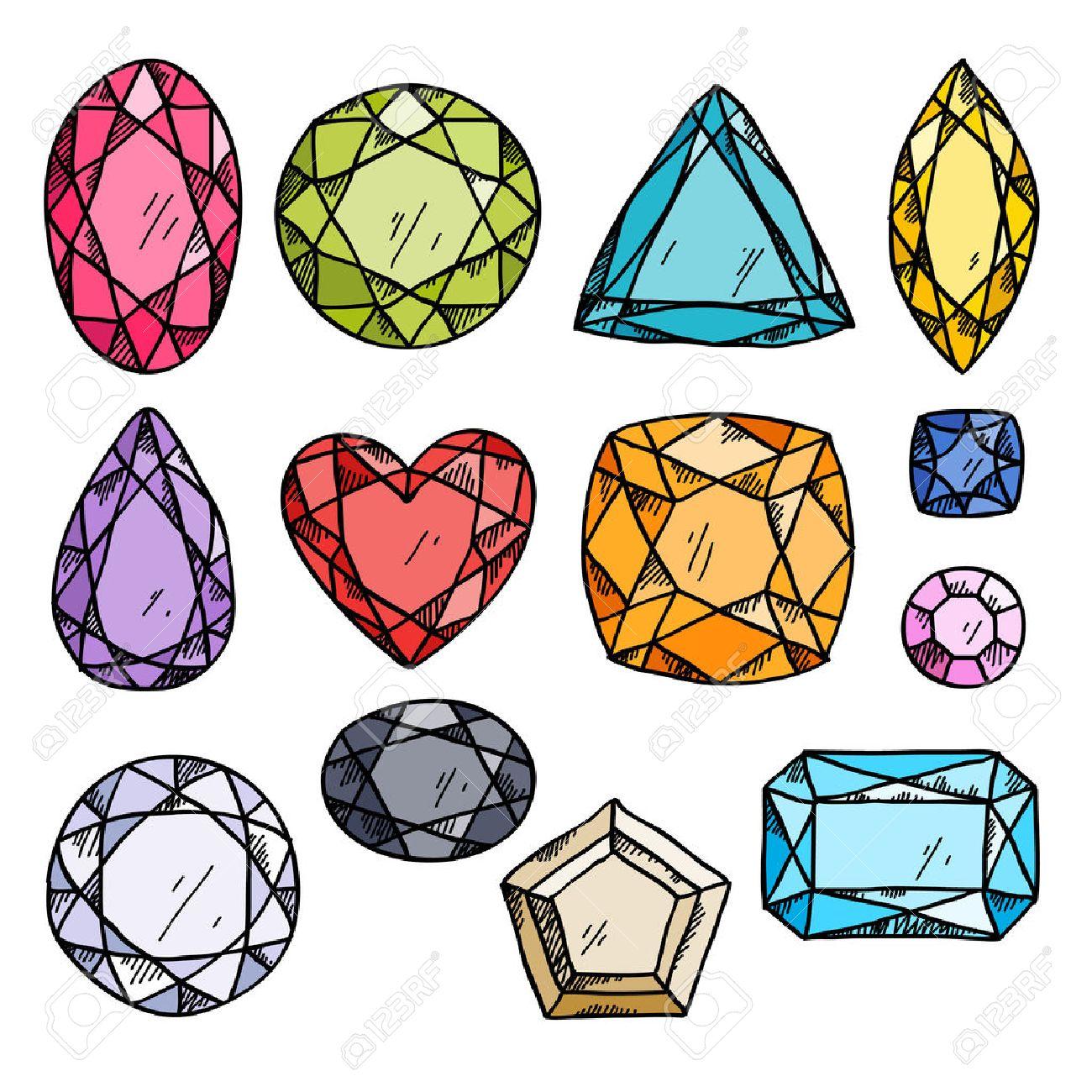 81922ce85028 Conjunto de joyas de colores. Piedras preciosas dibujadas a mano.  Ilustración del estilo del bosquejo.