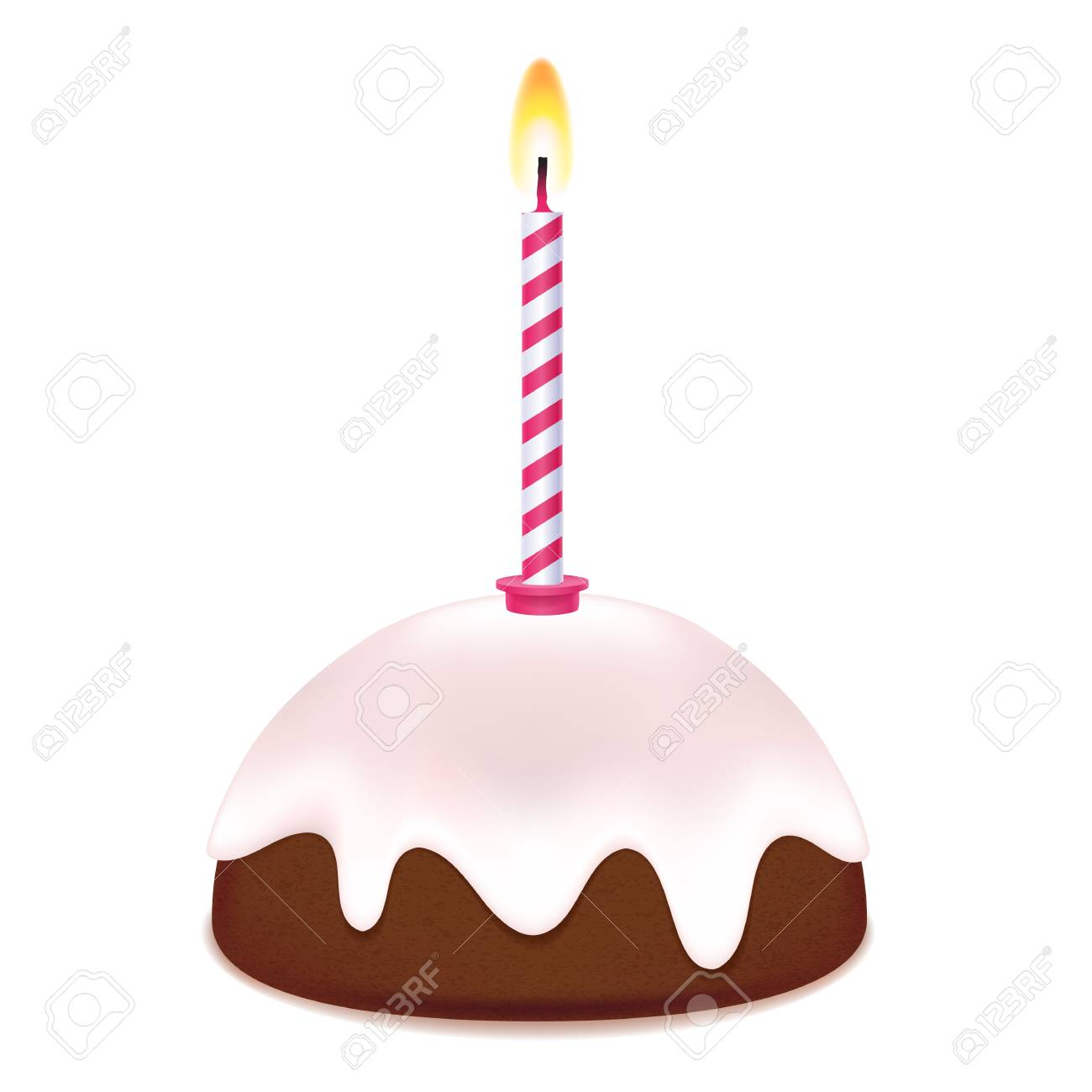 Small Birthday Cake With Candle Sweet Treat Chocolate Frosting On Top Stock Vector