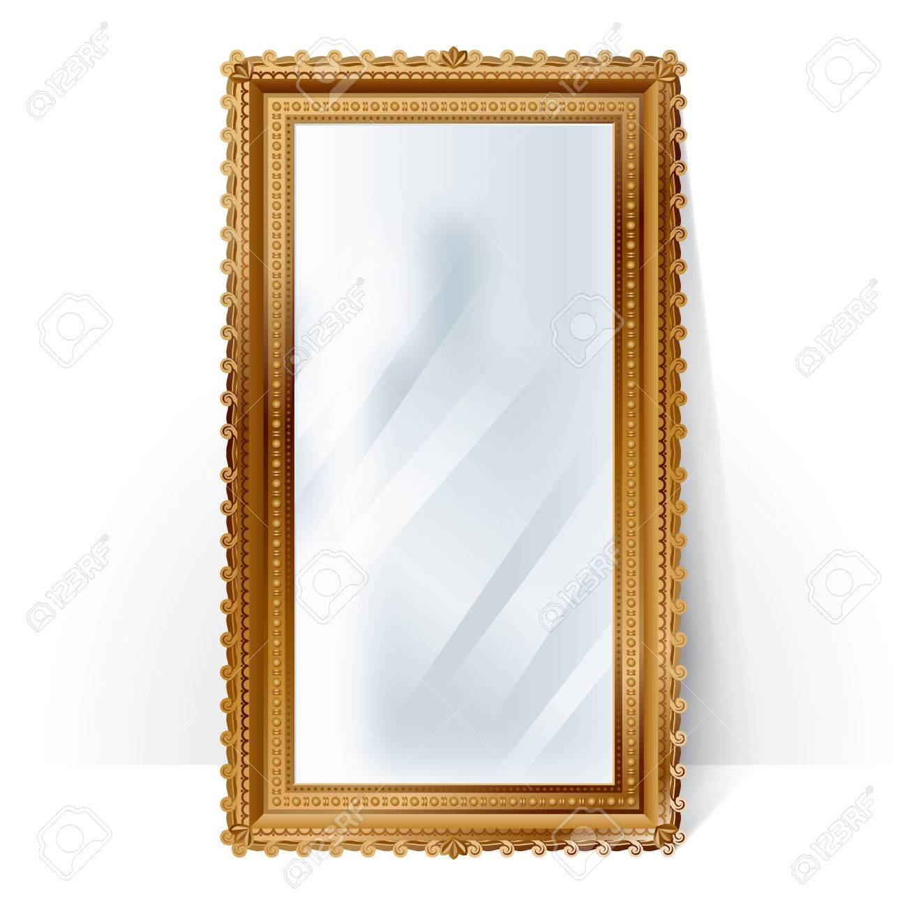 Big Mirror In Vintage Golden Frame With Blurry Reflection, Standing ...