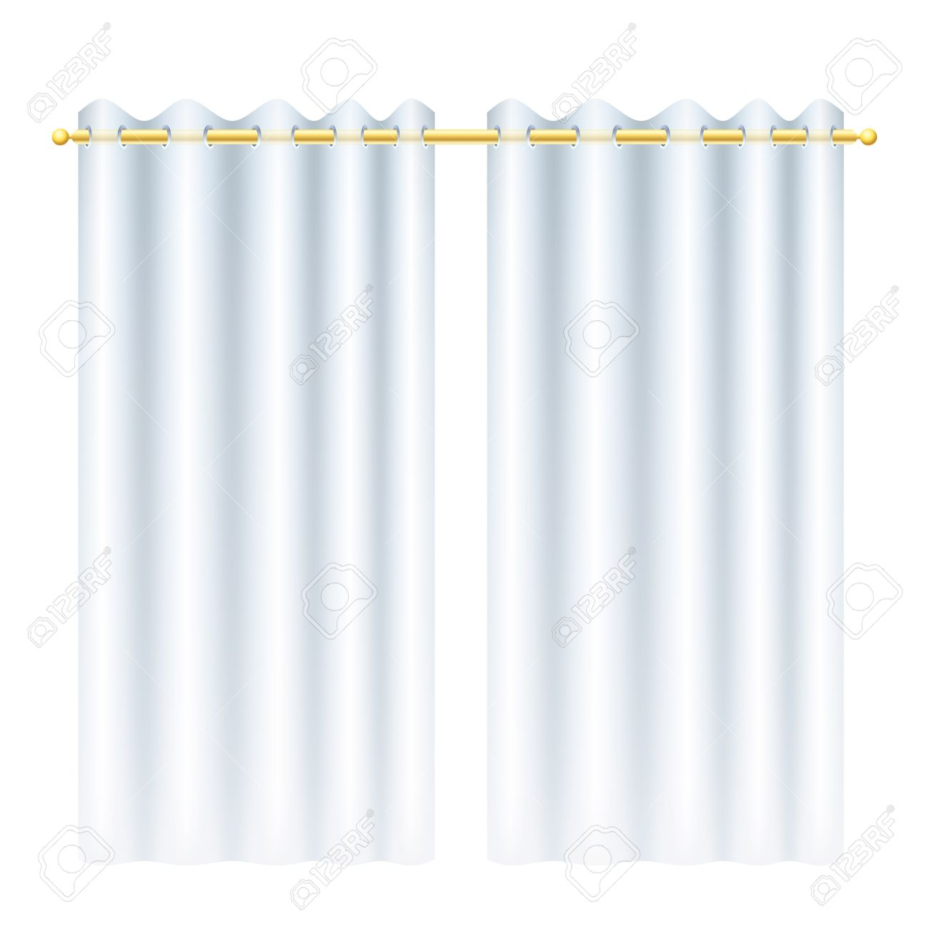 Royalty free or white curtain background drapes royalty free stock - White Curtains With Transparency Blindes On Golden Drapery Rod Stock Vector 35534184
