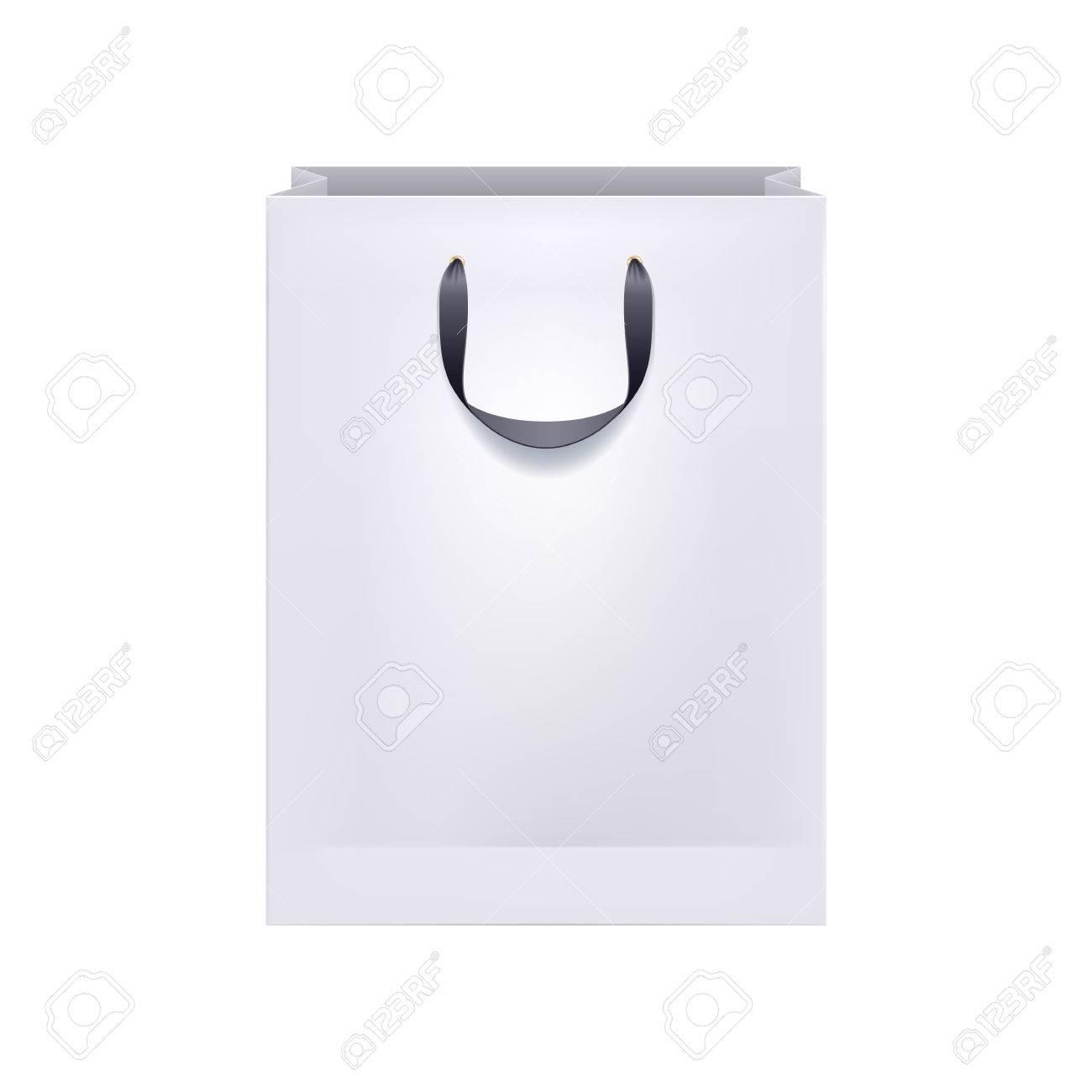 Paper bag vector - Blank White Paper Bag With Black Handles Packaging Design Mock Up Stock Vector