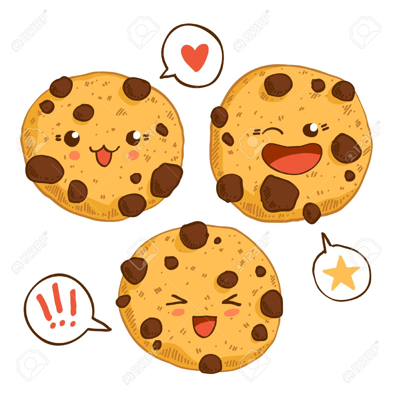 Group of three cute kawaii cookies with chocolste chips. Good for t-shirt design. - 35826652