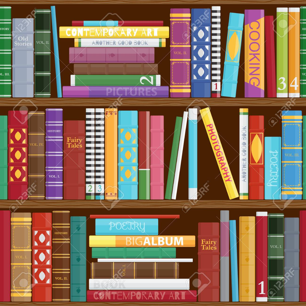 Seamless Book Shelves Background. Colorful Book Covers Pattern ...