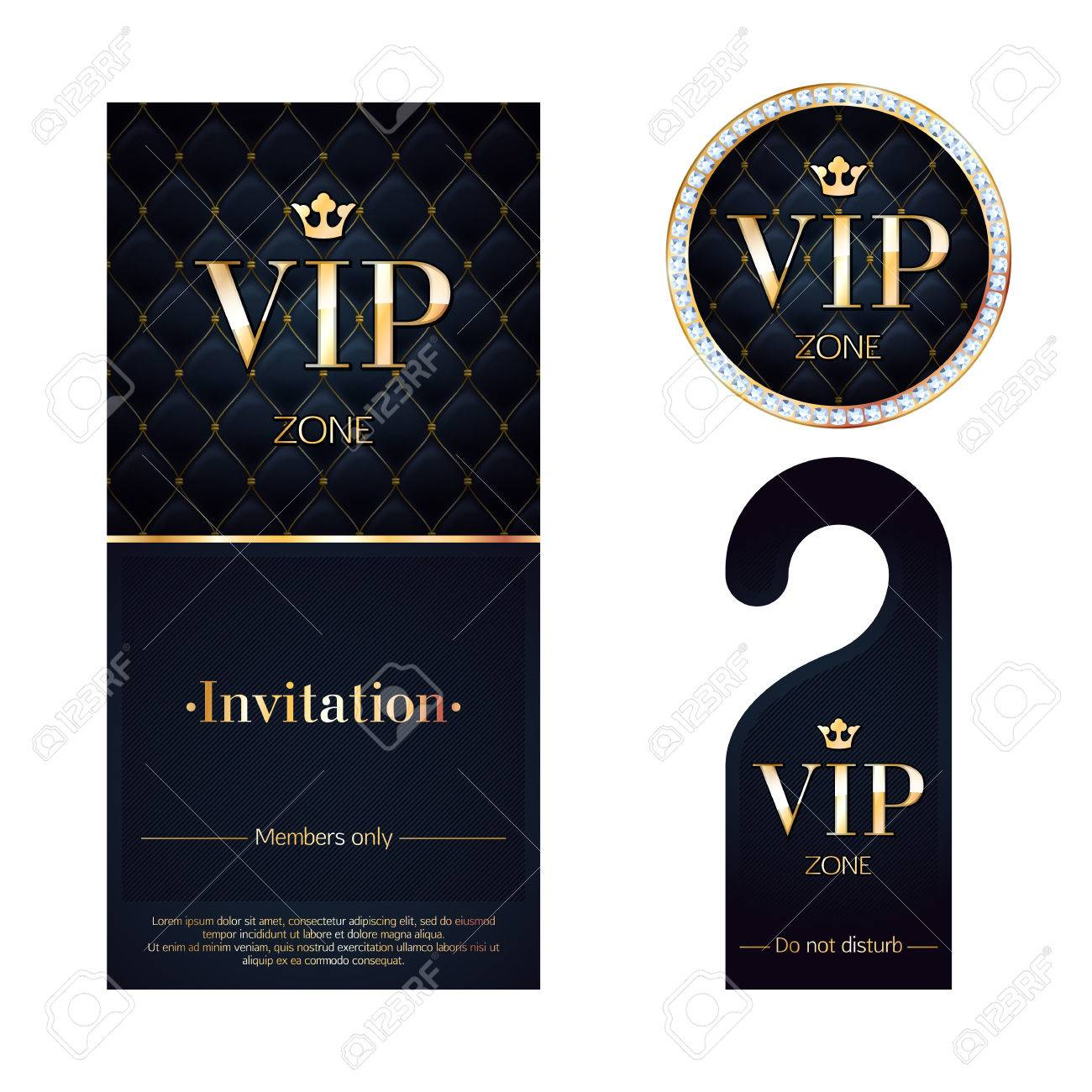 Vip zone members premium invitation card warning hanger and vector vip zone members premium invitation card warning hanger and round label badge black and golden design template set quilted dexture diamonds and stopboris Image collections