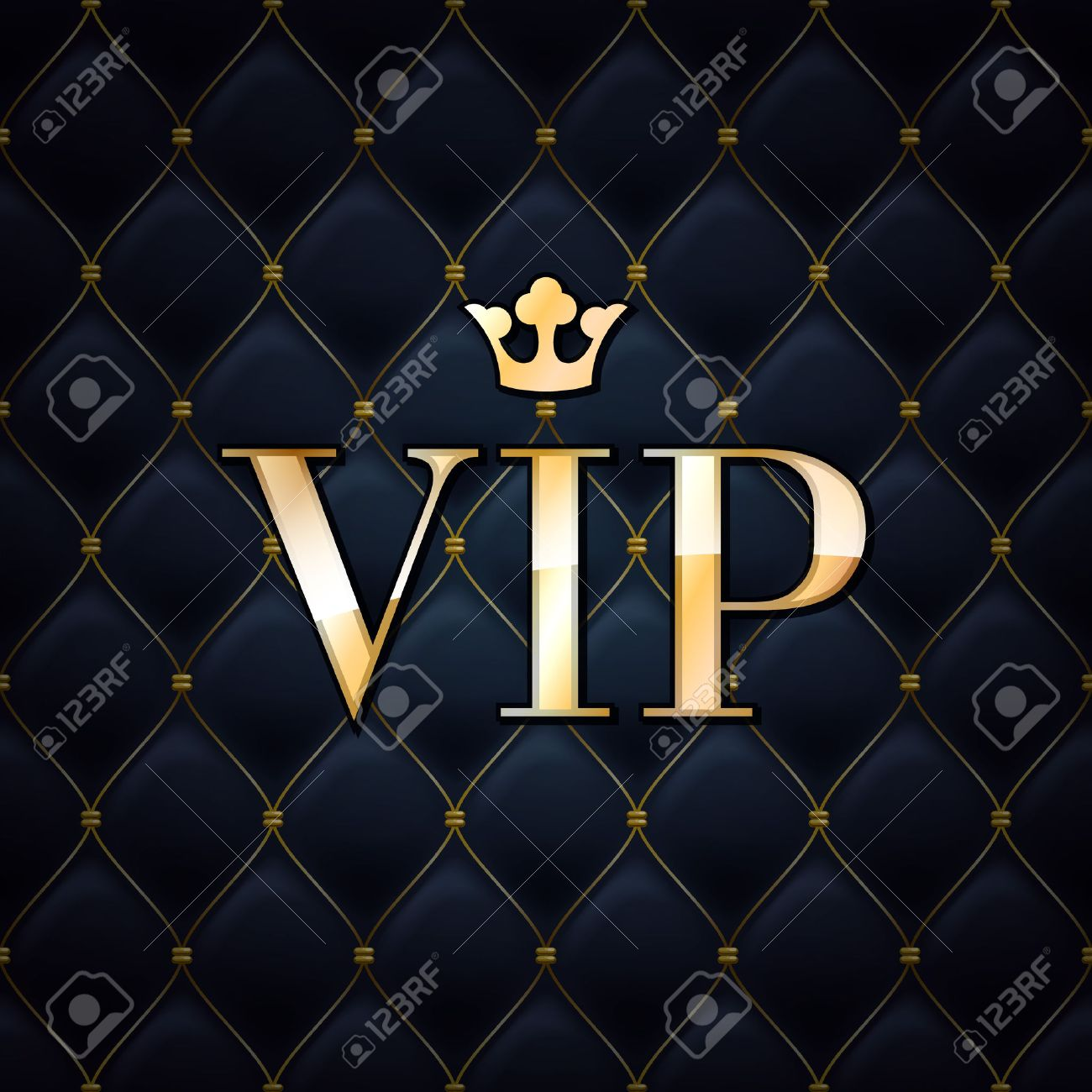 VIP abstract quilted background, diamonds and golden letters with crown. - 37035389