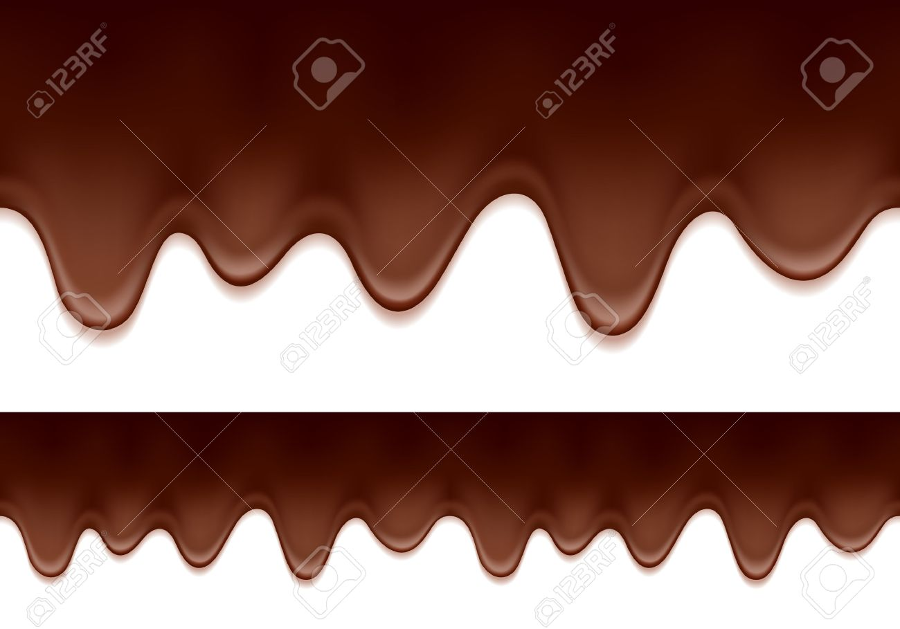 Melted Chocolate Drips - Seamless Horizontal Border. Sweet Food ...