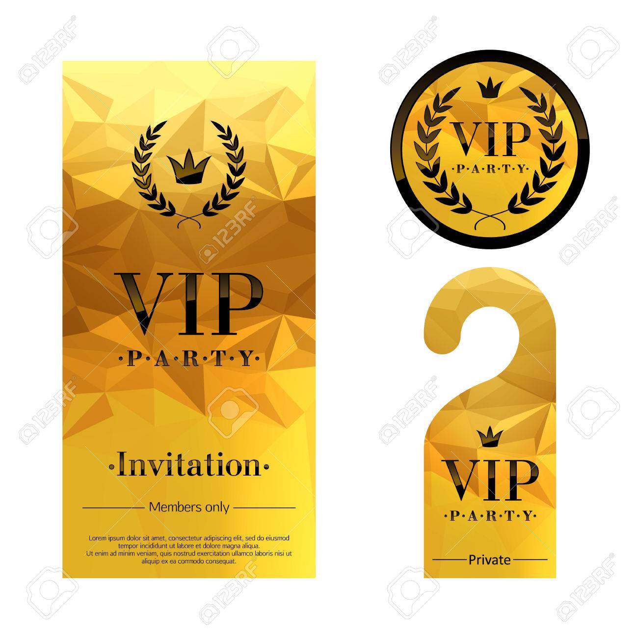 Vip party premium invitation card warning hanger and round label vector vip party premium invitation card warning hanger and round label badge golden faceted mosaic design template set laurel wreath and crown stopboris Gallery