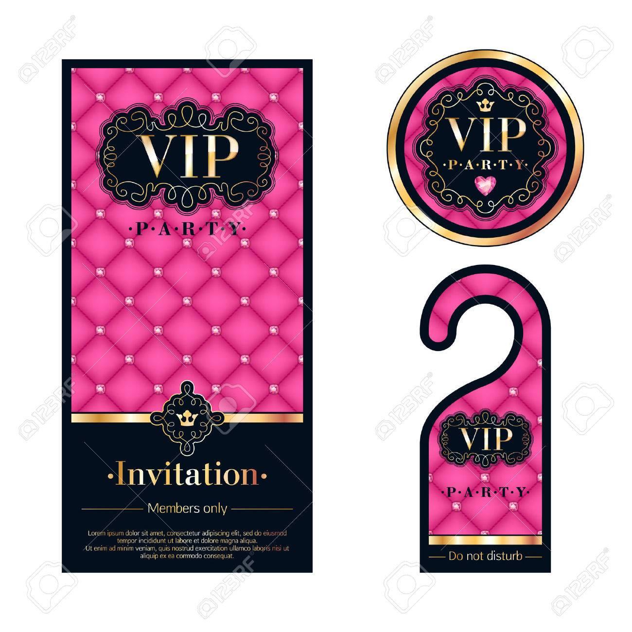 vip パーティー プレミアム招待状カード ハンガーと円形ラベル バッジを