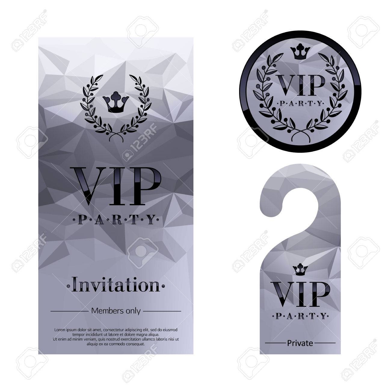 Vip party premium invitation card warning hanger and round label vip party premium invitation card warning hanger and round label badge silver faceted mosaic stopboris Image collections
